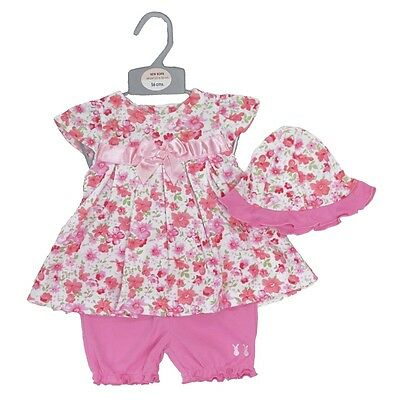 Pretty Baby Girl Summer Floral Soft Outfit Tunic Dress Hat pants 3pc Set NB 0-6M