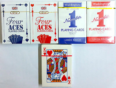 Only 1 Poker,casino Playing Cards,four Aces,original,waddington,52 In Each
