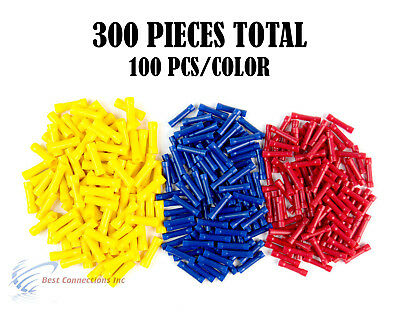 22-10 Gauge Red Blue Yellow Vinyl Butt Connector Terminal 300PCS 12 Volt Install