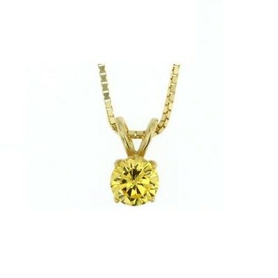 Yellow Gold Plated Sterling Silver Round Citrine CZ Pendant With Chain