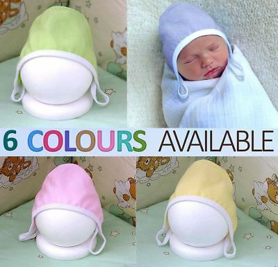 Newborn Baby First Hat Infant Hat With Strings Lovely Colours 100% Cotton