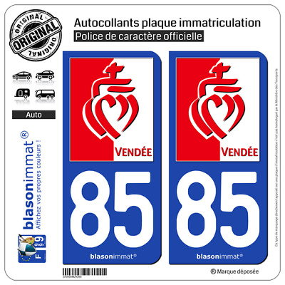 2 Sticker autocollant plaque immatriculation | 85 Vendée - Drapée