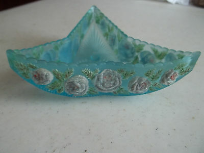 Blue Frosted Triangular Antique Dish, Embossed Flowered Sides, Free S/H