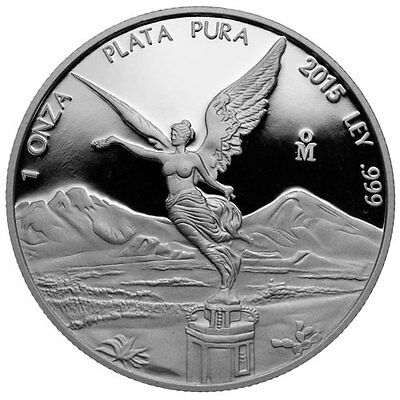2015 1 oz onzas .999 Pure Mexican PROOF Silver LIBERTAD Coin BU 6,400 Mintage !