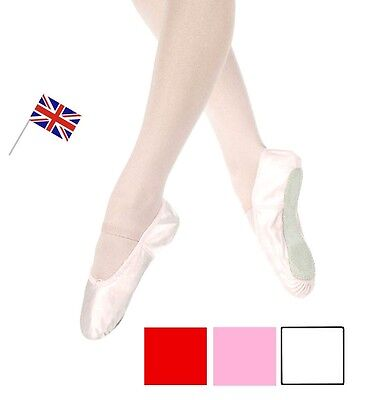 Satin Ballet Shoes Adult's and Child's Sizes Pink White or Red  Colour