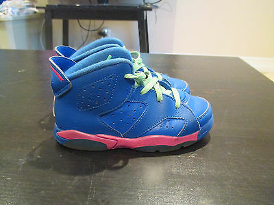 Nike Air Jordan Retro 6 Game Blue size 9c 9 C Boy Girl Kids Shoes Pink Green