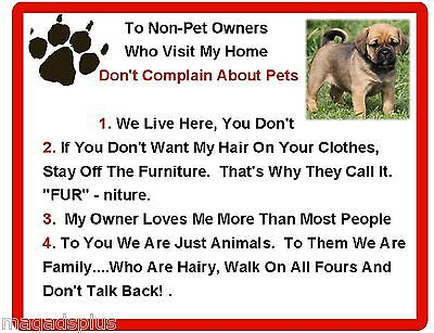 Funny Dog Puggle House Rules Refrigerator / Magnet Gift Card Idea