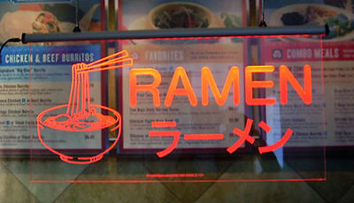 """Ramen Noodle Lighted Sign, Better than Neon Sign! 30"""" X 15"""""""