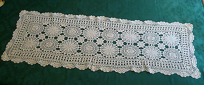 STUNNING VINTAGE CROCHETED CREAM TABLE RUNNER LARGE 112cms X 36cms