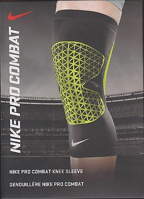 """Nike Pro Combat Knee Sleeve S 14-15"""" black and green color"""