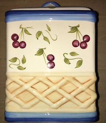 Inspirado Stonelite Clay Cookie Jar With Lid Cherries & Lattice Patterns