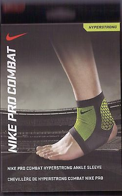 NIKE PRO COMBAT HYPERSTRONG ANKLE SLEEVE Size: M Black Green