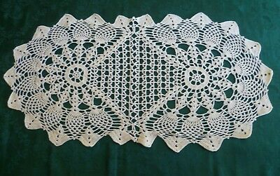 PRETTY VINTAGE CROCHETED LIGHT CREAM PINEAPPLE  TABLE RUNNER 64 cms x 31cms