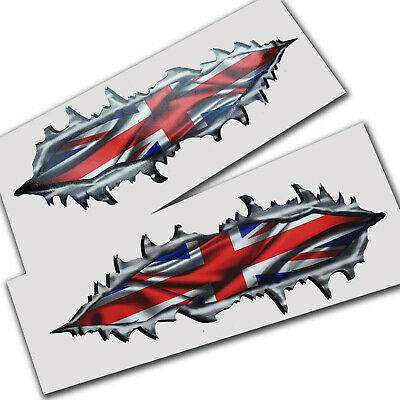 Torn metal British union flag jack Motorcycle Triumph graphics stickers decal x2