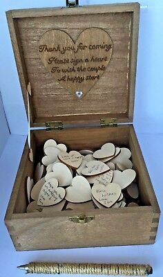 Personalised Wooden Wedding Guest Book Box 150 Wood Hearts 16cm Alternative Love