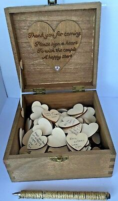 Personalised Wooden Wedding Guest Book Box 150 Wood Hearts 16cm Birthday Party