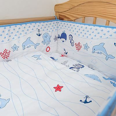 5 Piece Baby Nursery Bedding Set Fits Cot 120x60 or Cot Bed 140x70 - Ocean, Sea