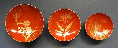 Set Of 3 Japanese Red & Gilt Lacquer Bowls - Late 19Th / Early 20Th Century