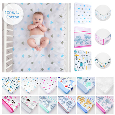 Nursery Baby Cotton Fitted Sheet 140x70 Cot Bed Matching Bedding Pattern/ Design