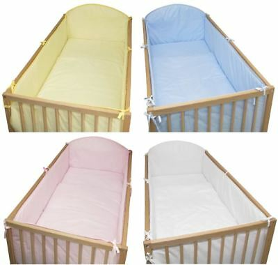 Cot | Cot Bed All Round Large Cot Bumper - Plain Blue | Pink | Yellow | White