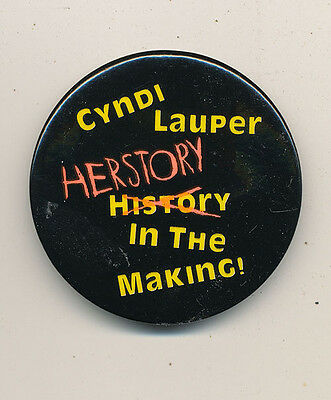 Cyndi Lauper Herstory in the Making RARE promo button