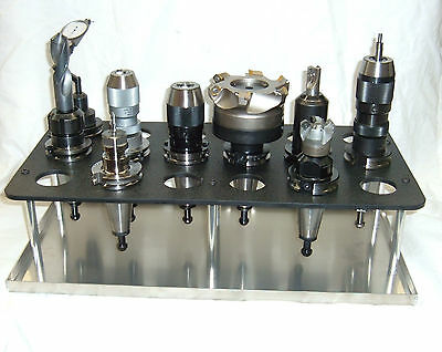 Cat 40, BT40, NMBT40 Tool Holder Rack, Holds 18 Tools,  with Aluminum Drip Pan