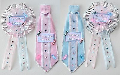 Baby Shower Tie U0026 Corsage Party Daddy U0026 Mother To Be Handmade Pink And ...