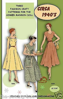 """Singer Manikin doll clothes pattern 12 3/4"""" No. 1 Learn to sew!"""