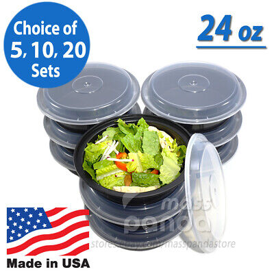 "24oz Meal Prep 7"" Round Food Containers with Lids, Microwavable Plastic BPA free"