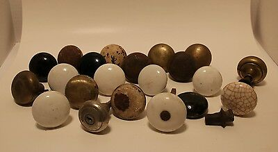 20 Antique Assorted Door Knobs And Parts Restore Re-purpose Crafts Steam punk