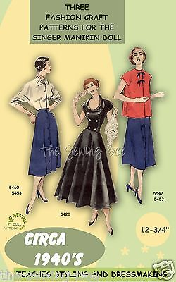"""Singer Manikin doll clothes pattern 12 3/4"""" No. 2 Learn to sew!"""