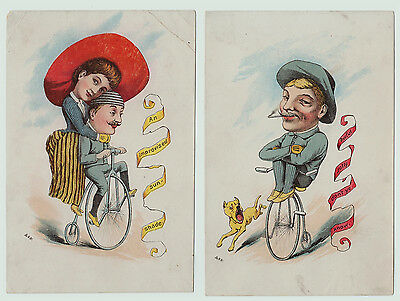 RARE Set of 2 Cards - High Wheel Bicycle ca 1880s - Advertising?