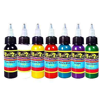 Solong Tattoo 7 Basic Colors Ink Set Pigment Kit 1oz Professional Supply Body