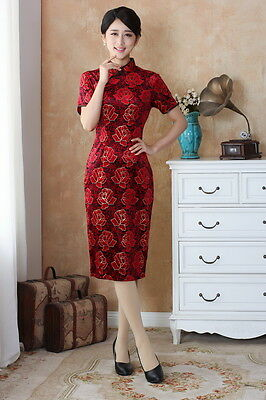 Women  Chinese Dress Cheong-sam Qipao Stretch Velvet Red Black Wedding Holiday