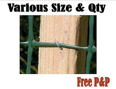 GALVANISED FENCING U NAILS HEAVY DUTY STAPLES POINTED CHICKEN WIRE 15mm - 30mm