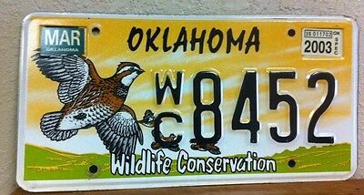 2003 OKLAHOMA Quail Wildlife Conservation License Plate (8452) - DISCONTINUED