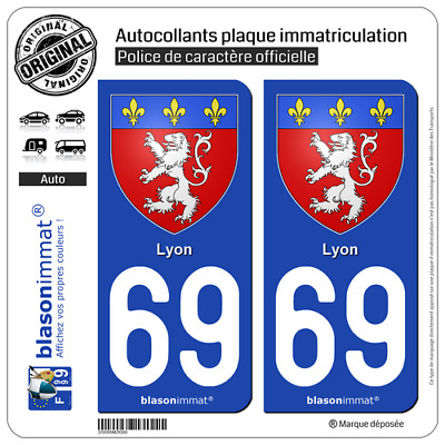 2 Stickers autocollant plaque immatriculation auto : 69 Lyon - Armoiries
