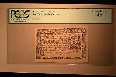 New York March 5, 1776 $1/3 PCGS Extremely Fine 45.