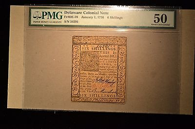 Delaware January 1, 1776 6s PMG About Uncirculated 50.