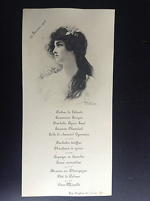 Ancien menu illustré 1905 Wichera