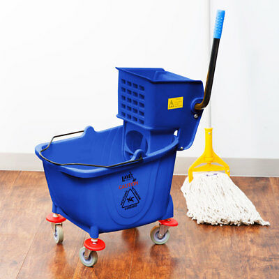Blue 36 Quart Plastic Mop Bucket with Wheels & Side-Press Wringer Combo