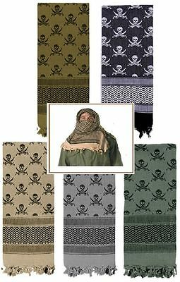Shemagh -Crossed Swords & Skull -100% Cotton Arab Tactical Desert Keffiyeh Scarf