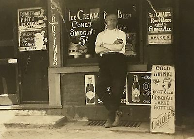Antique c1920s Ice Cream Candy Soda Shop Signs Store Photo