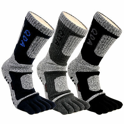 Mens Thermal Winter Sport Warm Heat Thick Crew Cushioned Five Finger 5 Toe Socks