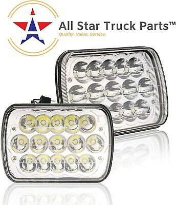 """Pair 7x6"""" 5x7"""" inch CREE 15 LED Replace H6054 Headlights High/Low Beam 6000K 45W"""