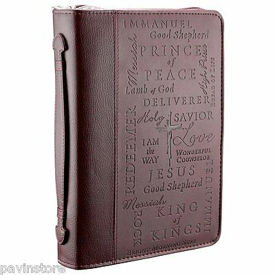 Names Of Jesus Burgundy Large Bible Book Cover Faux Leather Cross Engraved Zip