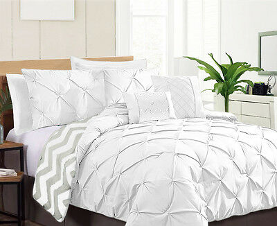 7 Piece Pinch Pleat Comforter Set,Machine Washable,Double/Queen/King,4 Colours