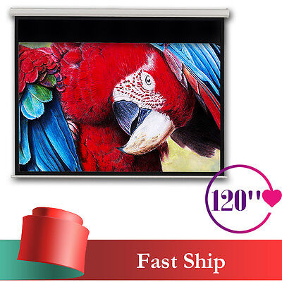 "120"" Electric Motorised Projector Screen Matte White 16:9 Pure Projection Remote"