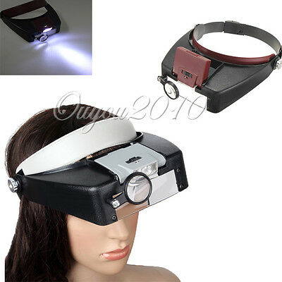 10X Magnifying Glass Headset Magnifier Len Loupe Visor with 2 LED SMD Light Lamp