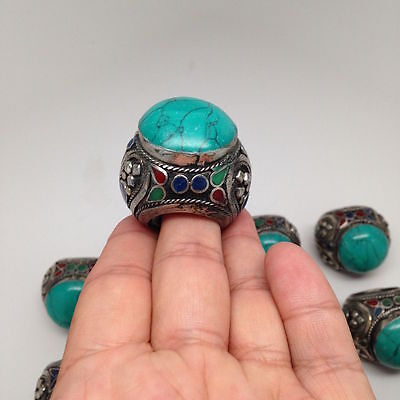 1 Pc Vintage Afghan Turkmen Tribal Kuchi Big Thick Green Turquoise Inlay, R99